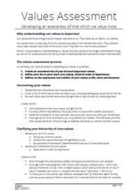 Values Assessment Worksheet