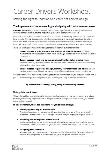 Career Drivers Worksheet